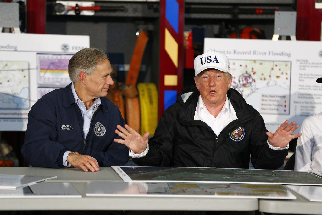 President Donald Trump spoke Tuesday during a briefing by federal, state and local officials at Annaville Fire Station 5 in Corpus Christi.   (Nathan Hunsinger/The Dallas Morning News)