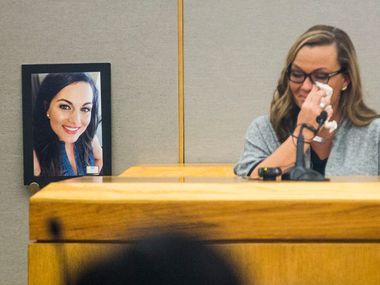 Ashley Turner, the sister of Kendra Hatcher, testified during the punishment phase of a capital murder trial for Kristopher Love in October 2018 at the Frank Crowley Courts Building in Dallas.