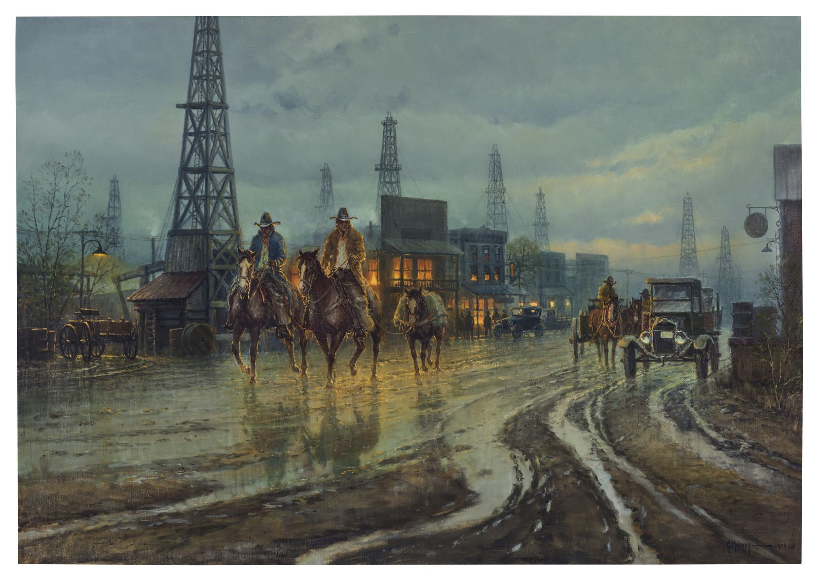 G. Harvey's Boomtown Drifters, painted in 1979, has an auction house estimate of $300,000 to $500,000. Pickens and Harvey became friends.