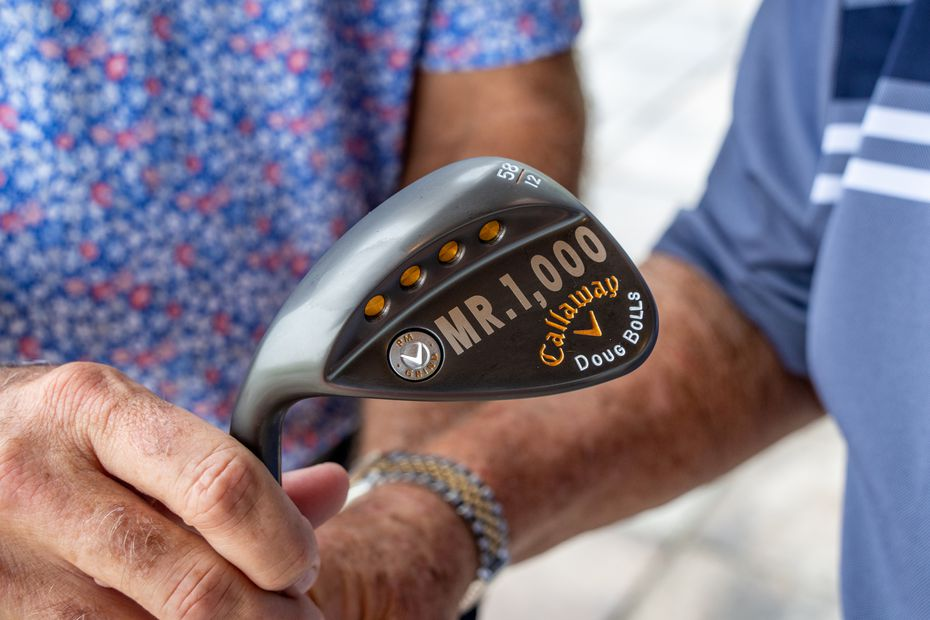 """Doug Bolls of Trophy Club was presented with a specially stamped wedge with """"Mr. 1000"""" and his name engraved, marking the 1000th different course he had played on Sept. 16, 2021.  The 1000th course was Streamsong Blue in Bowling Green, Florida."""
