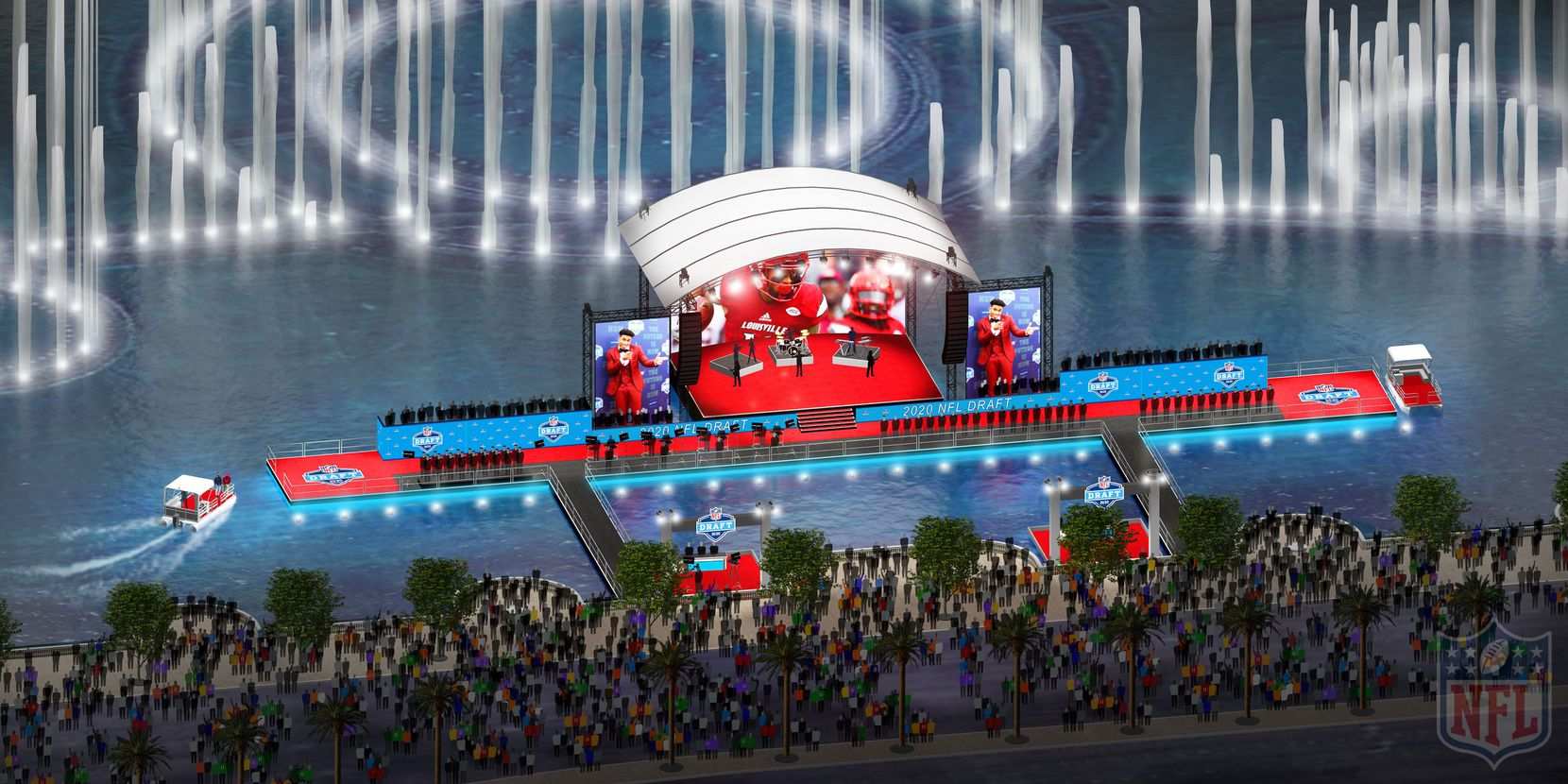 The 2020 NFL Draft's red carpet area will be built atop Lake Bellagio, with its famous dancing fountains in the background.