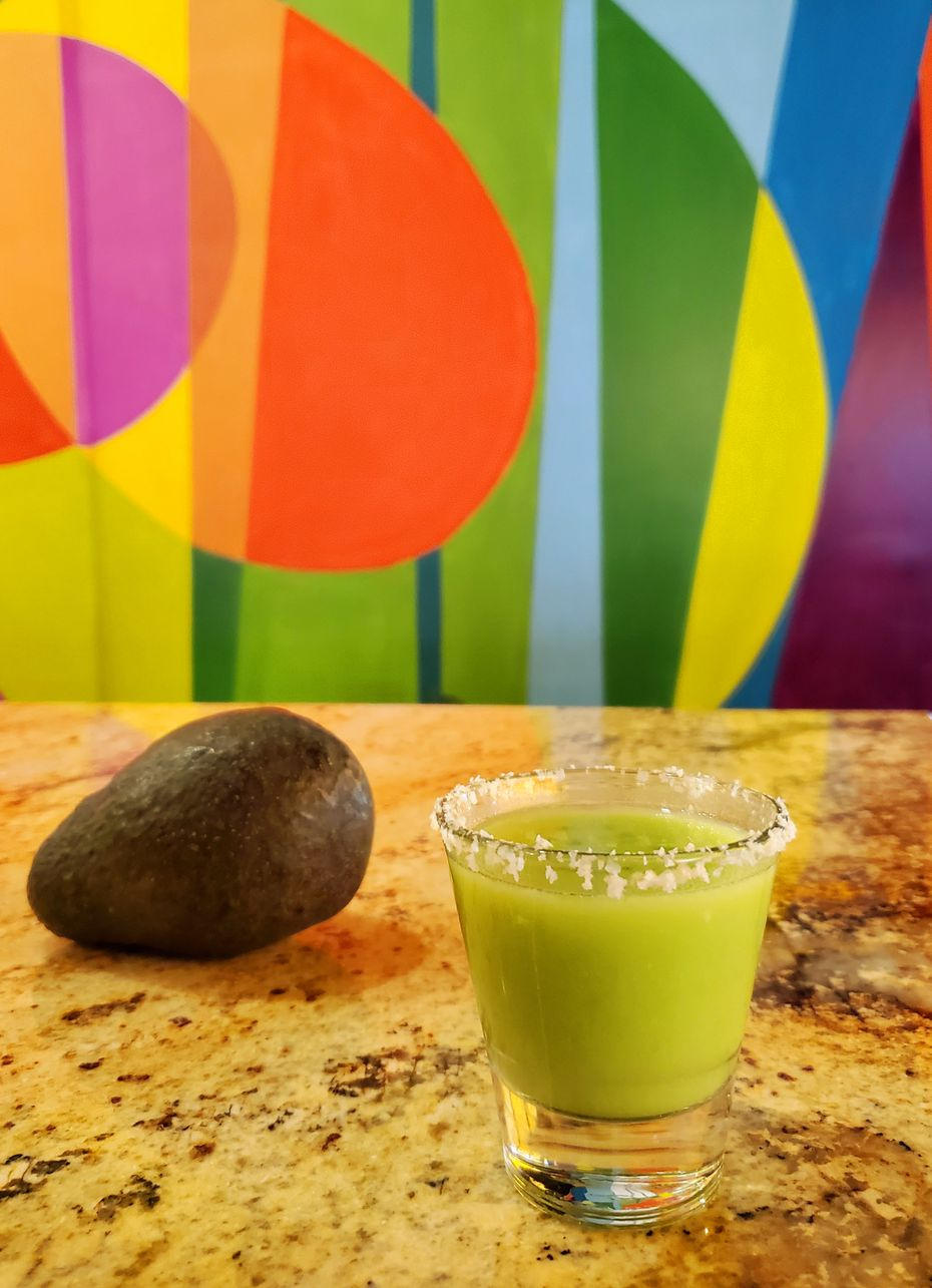 The avocado toast shot, part of an all-avocado drink lineup at newly opened AvoEatery, at Trinity Groves, in a photo taken Feb. 19, 2020.