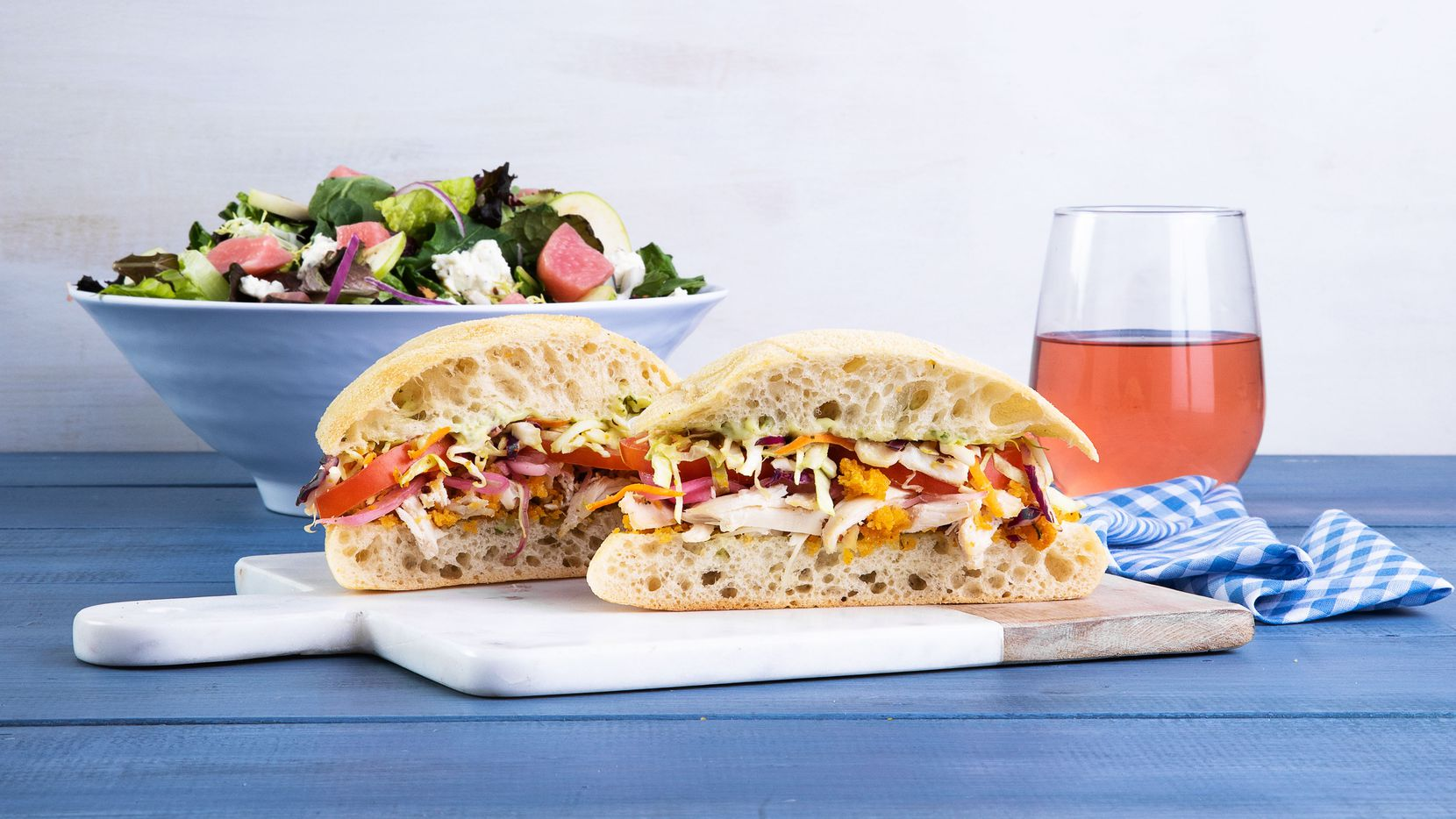 """Mendocino Farms serves a """"not so fried"""" chicken sandwich, pictured here, as well as salads. Dallas' first Mendocino Farms is expected to open in March 2020."""