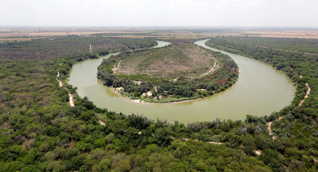 A bend in the Rio Grande is seen from a Texas Department of Public Safety helicopter on patrol over in Mission.