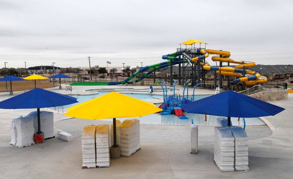 The outdoor pool area at the Apex Centre in McKinney