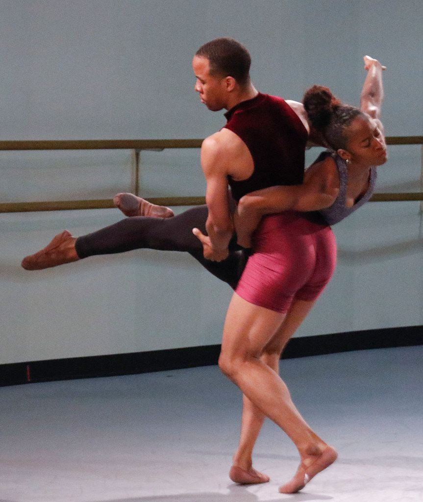 Dallas Black Dance Theatre company members Claude Alexander III and Hana Delong rehearse a scene from choreographer Ray Mercer's Undeviated Passage in the troupe's dance studio in Dallas on May 4, 2018.