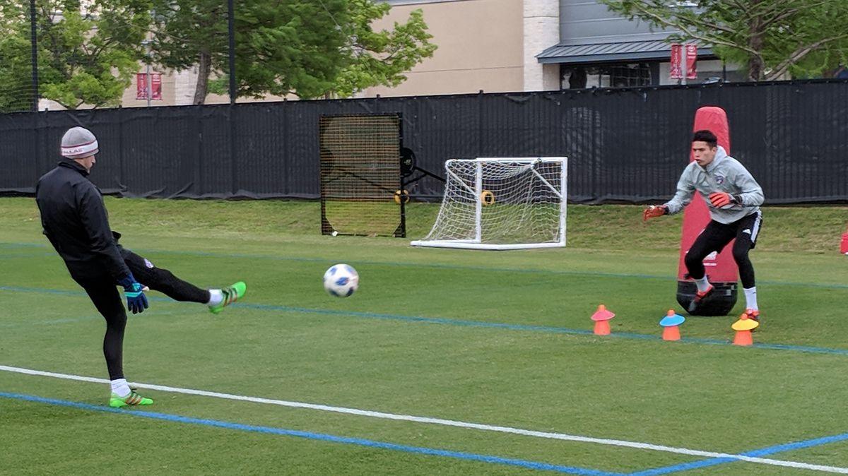 Jesse Gonzalez works with FCD Goalkeeper Coach Drew Keeshan early in training.  (4-15-18)