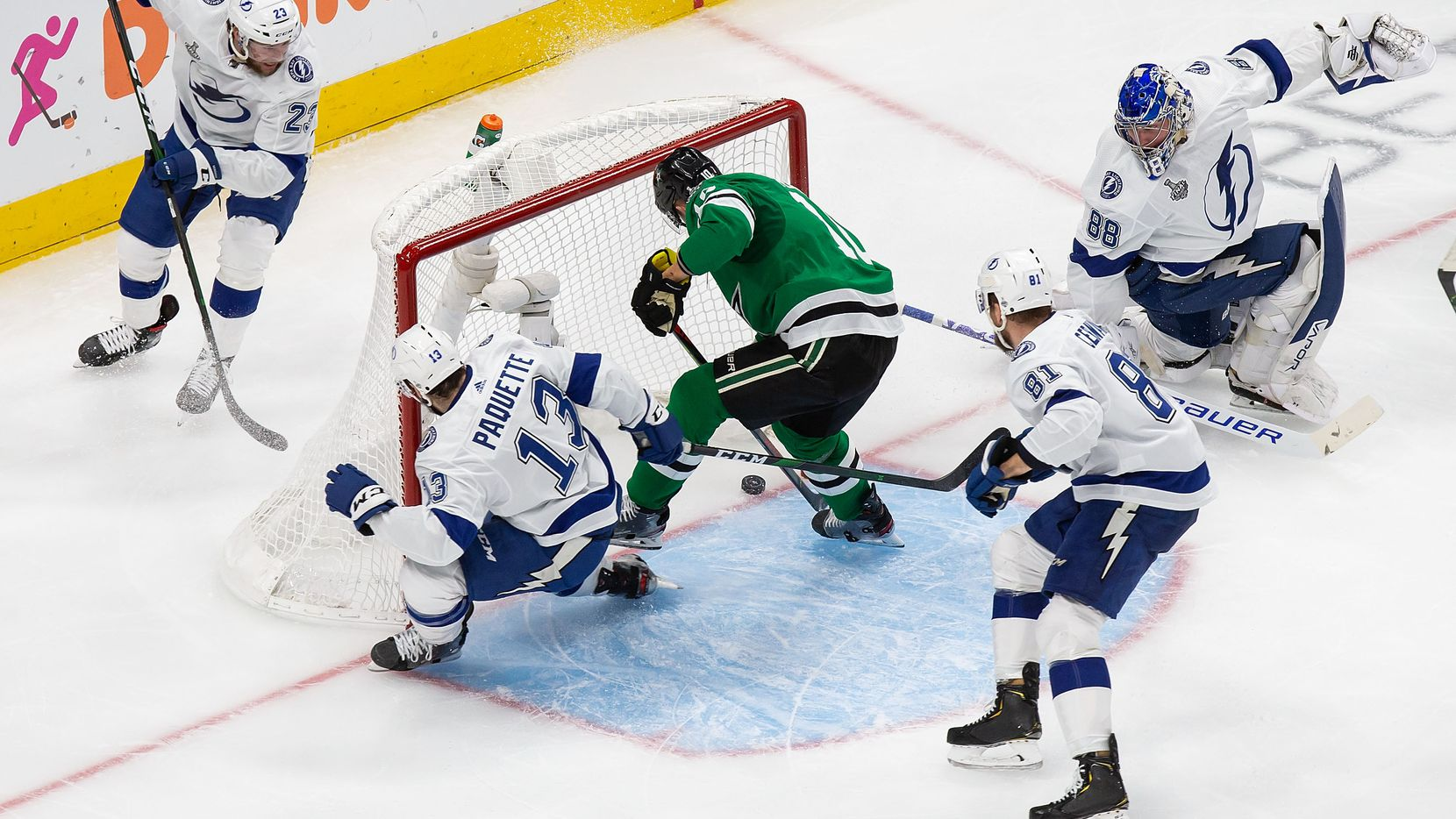 Corey Perry (10) of the Dallas Stars scores against goaltender Andrei Vasilevskiy (88) of the Tampa Bay Lightning during Game Four of the Stanley Cup Final at Rogers Place in Edmonton, Alberta, Canada on Friday, September 25, 2020.
