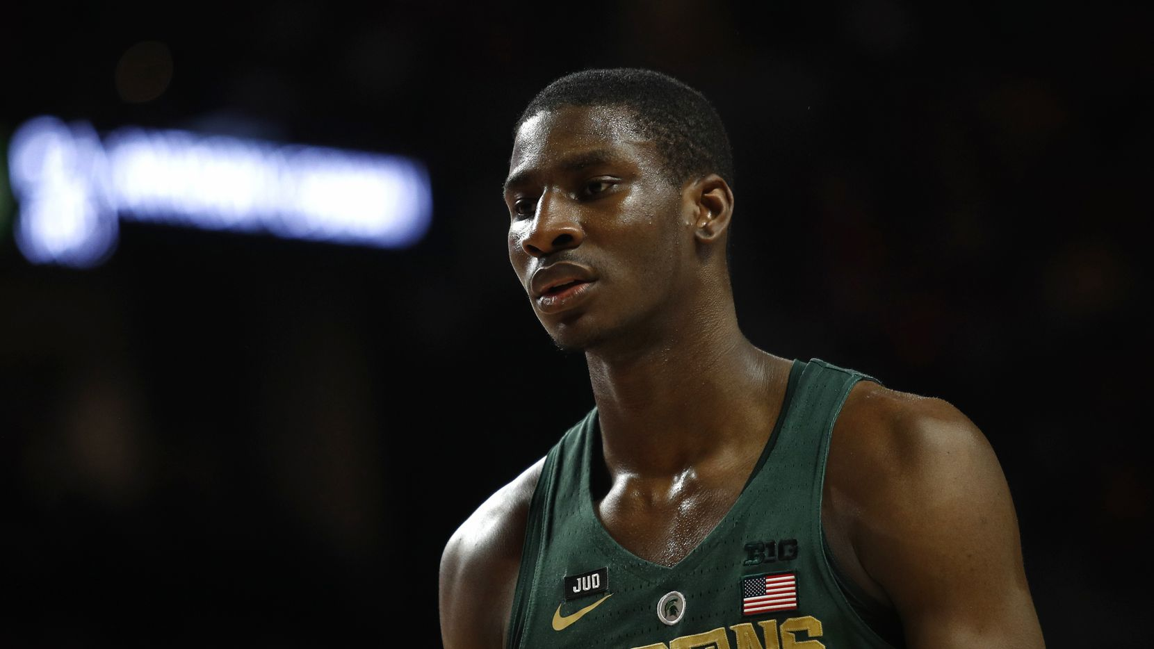 Michigan State forward Jaren Jackson Jr. walks on the court in the first half of an NCAA college basketball game against Maryland in College Park, Md., Sunday, Jan. 28, 2018. (AP Photo/Patrick Semansky)