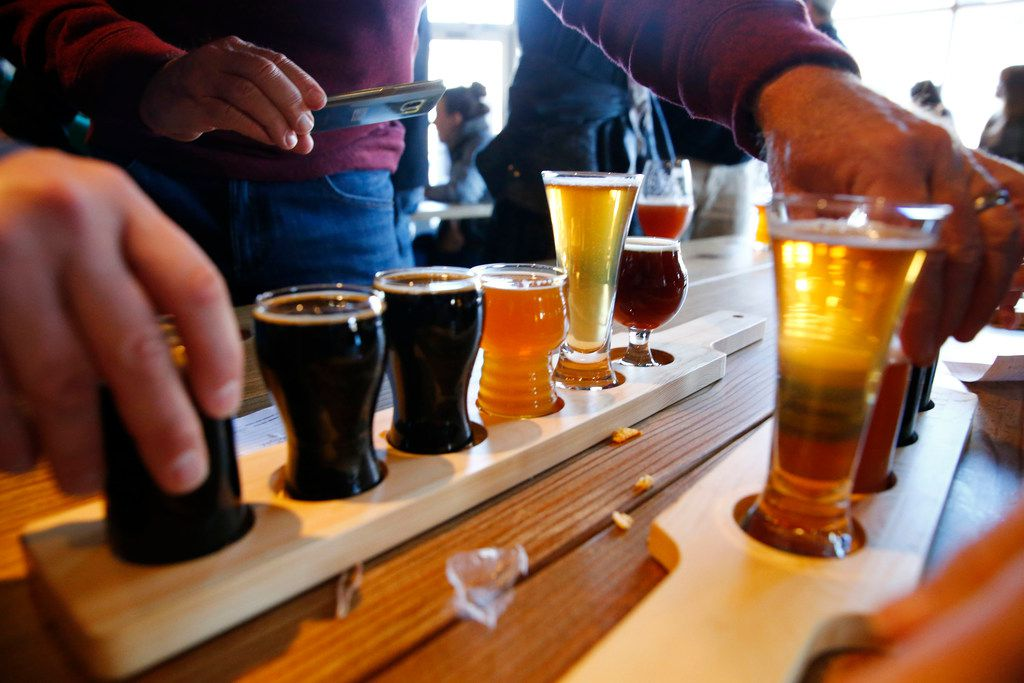 A flight of beer served at TKO Libations in Lewisville on Jan. 13, 2018.  (Nathan Hunsinger/The Dallas Morning News)