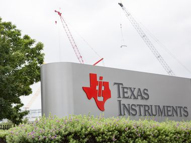 The entrance to the Texas Instruments plant on Wednesday, June 9, 2021, in Richardson. (Juan Figueroa/The Dallas Morning News)