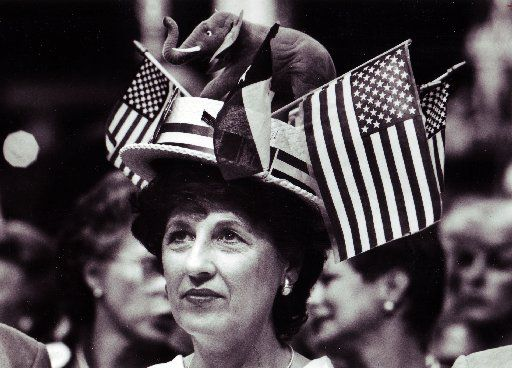 Alternate delegate Mildred Thodos of Corpus Christi donned this patriotic chapeau Tuesday while listening to a speech by Tampa, Fla., Mayor Robert Martinez during the Republican National Convention.