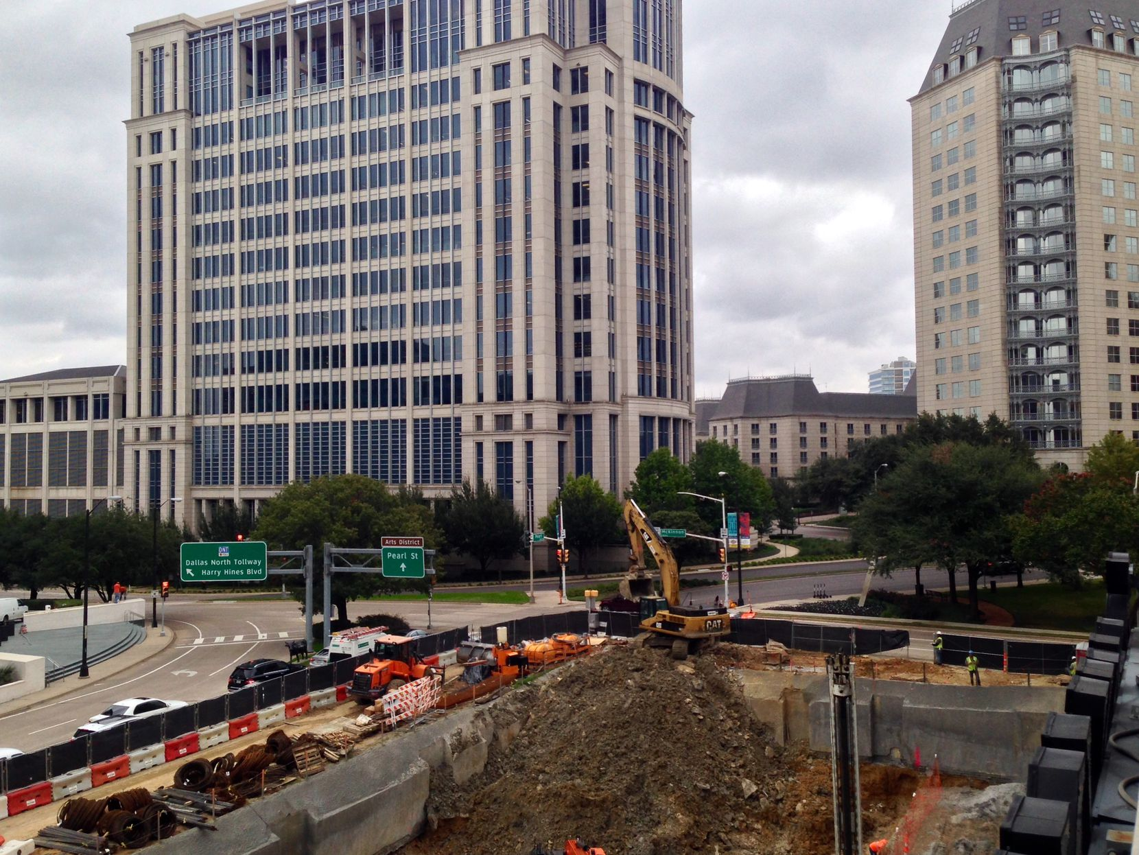 The 20-story hotel tower is under construction at Pearl and Olive streets in Dallas' Uptown area.