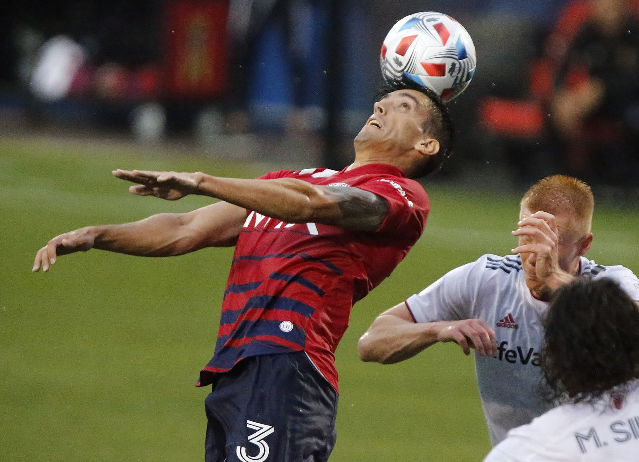 FC Dallas defender Jose Antonio Martinez (3) gets a header in front of the goal during the first half as FC Dallas hosted Real Salt Lake at Toyota Stadium in Frisco on Saturday, May 22, 2021. (Stewart F. House/Special Contributor)