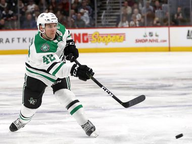 Taylor Fedun #42 of the Dallas Stars fires a shot against the Colorado Avalanche at the Pepsi Center on November 24, 2018 in Denver, Colorado.