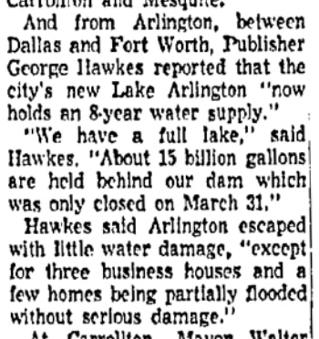 In addition to the full lake, Arlington escaped with little flooding damage compared to its neighbors.