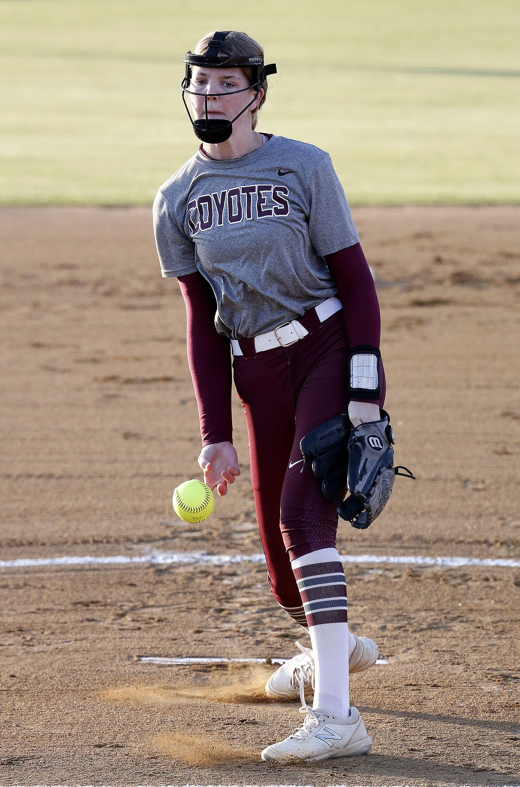 Heritage pitcher Jensin Hall (51) delivers a pitch in the first inning as Heritage High School hosted Memorial High School for the District 9-5A softball championship in Frisco on Tuesday, April 20, 2021. (Stewart F. House/Special Contributor)