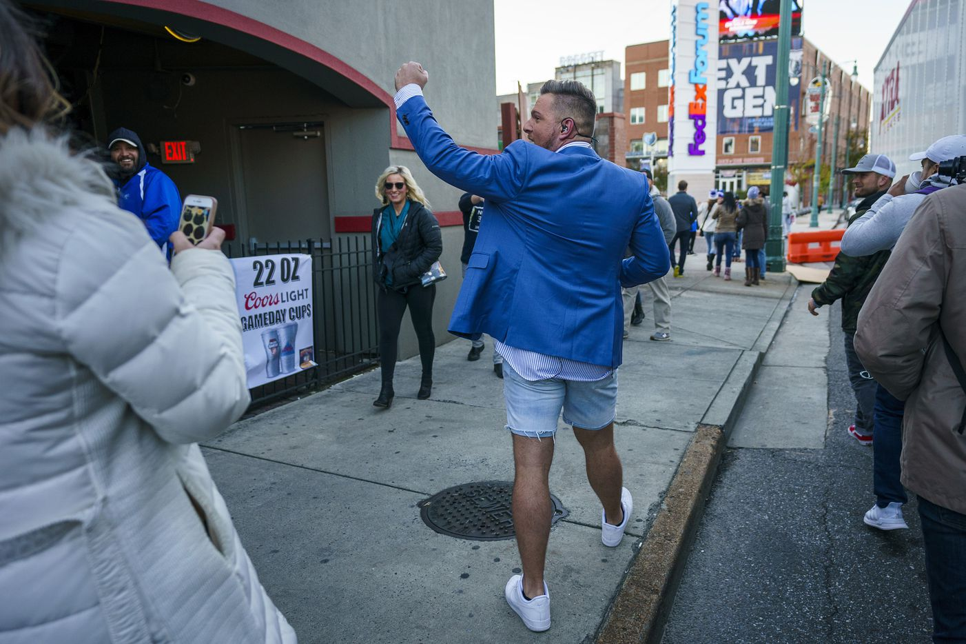 Pat McAfee waves to fans during ESPN College GameDay on Beale Street before an NCAA football game  on Saturday, Nov. 2, 2019, in Memphis, Tenn.