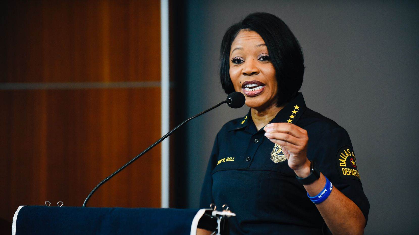 Dallas Police Chief Renee Hall conducts a press conference at Dallas Police headquarters about DPD starting to use a curfew to combat the recent protests for the death of George Floyd, Sunday. May 31, 2020.