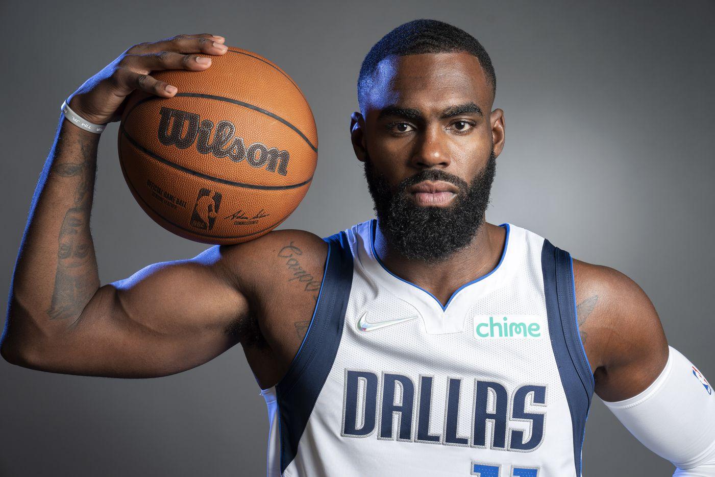 Dallas Mavericks guard Tim Hardaway Jr. (11) poses for a portrait during the Dallas Mavericks media day, Monday, September 27, 2021 at American Airlines Center in Dallas. (Jeffrey McWhorter/Special Contributor)