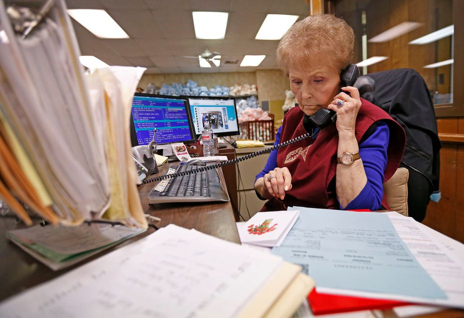 Sales supervisor Sandra White took an order over the phone at McShan Florist in Dallas on Feb. 12, 2018.