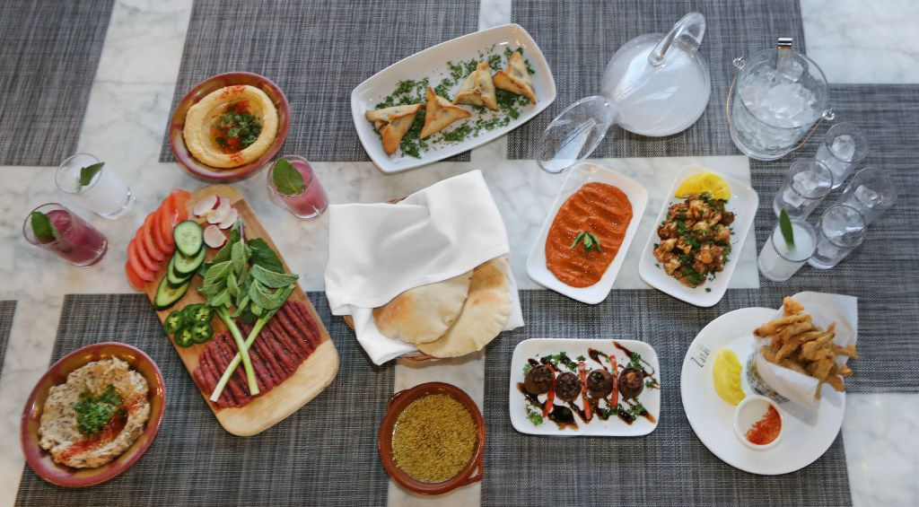 An assortment of meze – Lebanese small plates – and drinks at Zatar