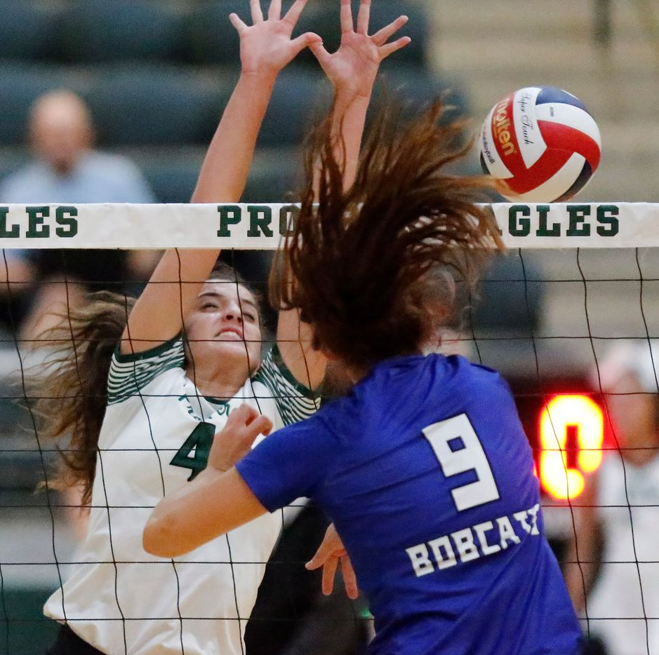 Prosper's Sami Jacobs (4) attempts a block on Trophy Club Byron Nelson's Skyler McKinnon (9) during match on August 20, 2019. (Stewart F. House/Special Contributor)