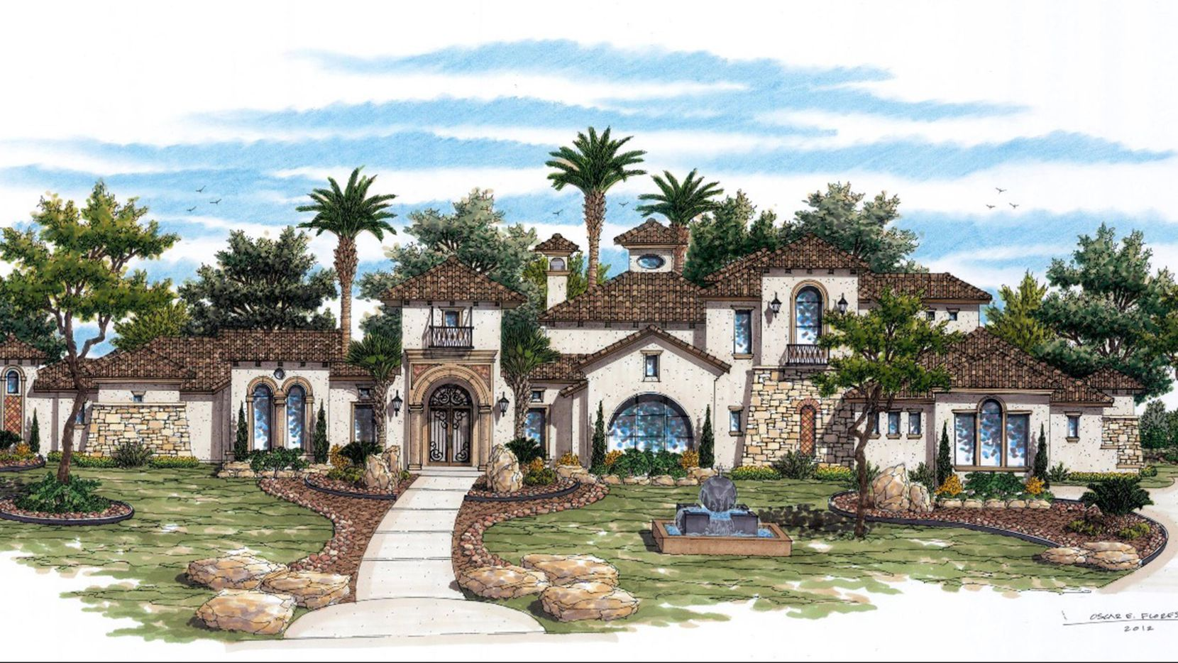 This Tuscan-inspired design by V Luxury Homes features 6,821 square feet of living space with five bedrooms.