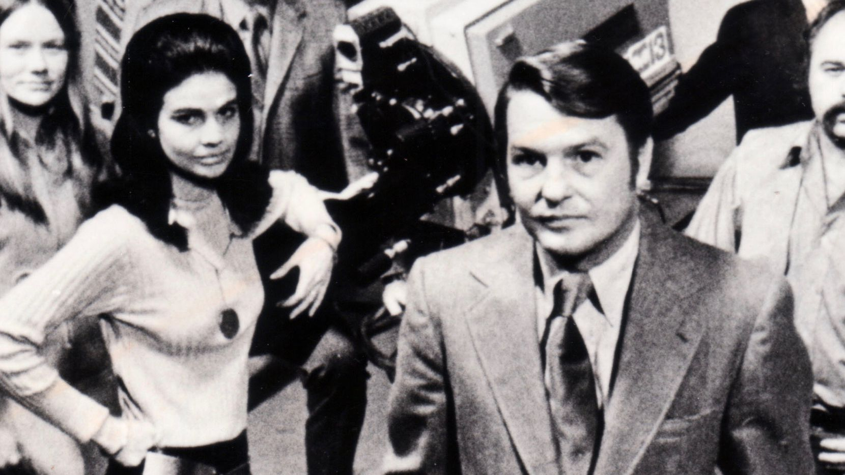 """""""Newsroom,"""" KERA Channel 13's award-winning news program, debuted February 16, 1970, with Jim Lehrer (center) as its editor. Other reporters on the controversial program included Lee Cullum Clark (arm on camera)"""