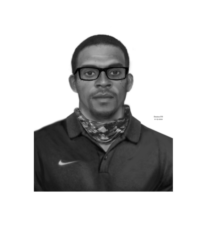Boceto del sospechoso buscado por la policía de Denton.