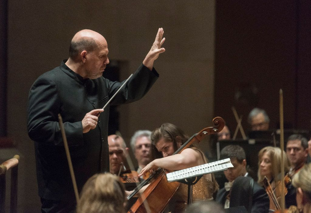 """Conductor Jaap Van Zweden leads the Dallas Symphony Orchestra as they they perform Tchaikovsky's """"Variations on a Rococo Theme for Cello and Orchestra, Op.33"""" at the MortonH. Meyerson Symphony Center onThursday, Feb. 2, 2017. (Rex C. Curry/Special Contributor)"""