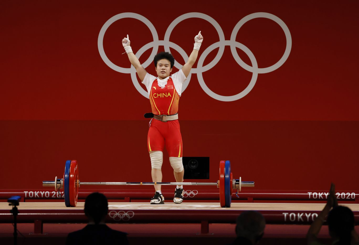 during the women's 49 kg group A weightlifting during the postponed 2020 Tokyo Olympics at Tokyo International Forum on Saturday, July 24, 2021, in Tokyo, Japan. (Vernon Bryant/The Dallas Morning News)