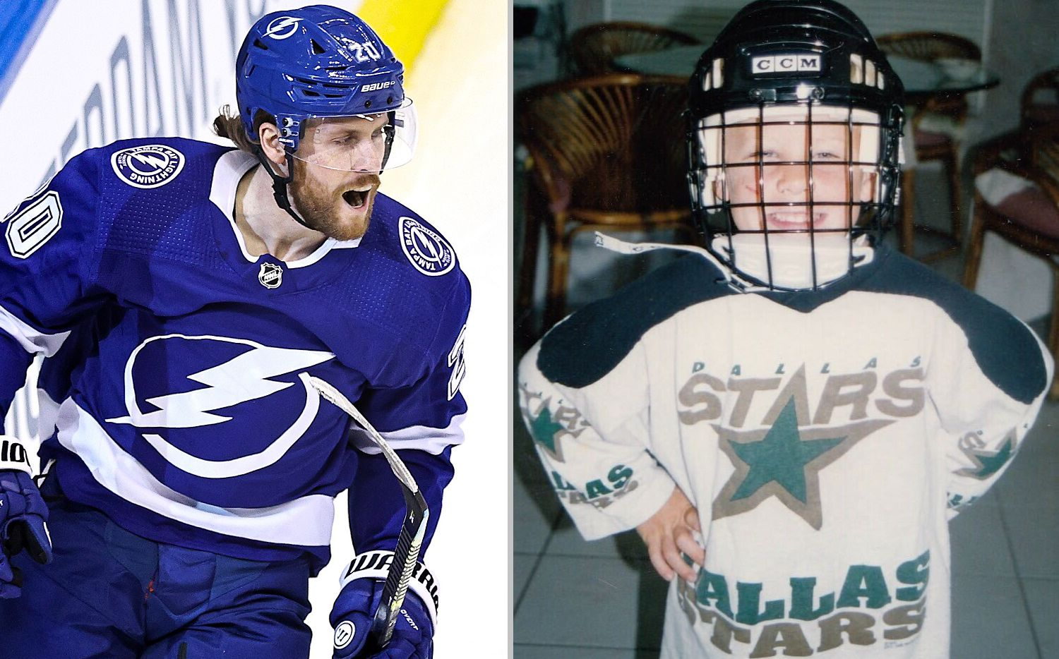 Left: Tampa Bay forward Blake Coleman (Photo by Elsa/Getty Images) / Right: Coleman as a young Dallas Stars fan. (Photo courtesy of the Coleman family)