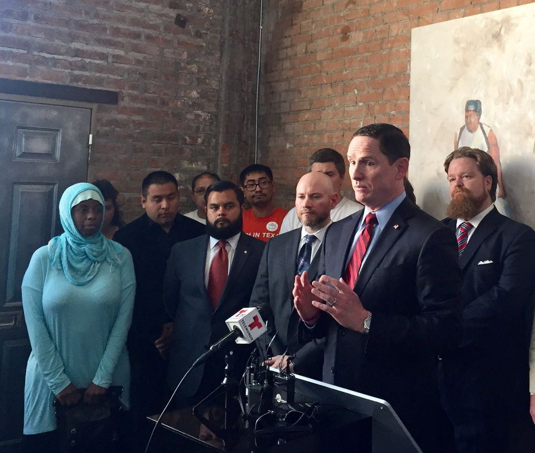 Dallas County Judge Clay Jenkins addresses a news conference at the Latino Center for Leadership Development about SB4, legislation to crackdown on immigration by expanding local policy authority. (Dianne Solis/The Dallas Morning News)