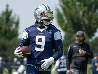 Dallas Cowboys linebacker Jaylon Smith (9) runs through a drill during a preseason practice, Thursday, September 2, 2021 at The Star in Frisco in Dallas, Texas.