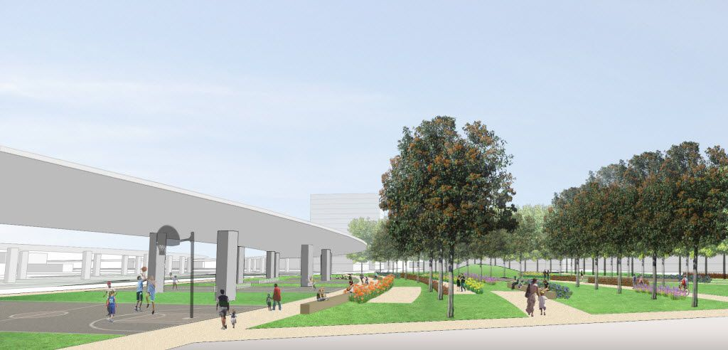 A conceptual rendering of the location for Carpenter Plaza (including the current location of Carpenter Park). This is the view from Live Oak Street.  The Belo Foundation announced an ambitious plan Thursday, Oct. 29, 2015 to realize a longstanding vision for downtown by creating 17 acres of new green space through the construction of four major parks. The plan calls for $70 million in private and public funding to build the parks within the next 10 years, with the Belo Foundation pledging $30 million toward the effort. The four parks Ã' Harwood Park, Carpenter Park, Pacific Plaza and West End Plaza Ã' were listed as high priorities in the 2013 update of the downtown parks master plan.