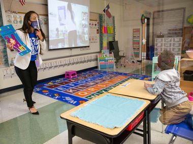 Jerry R. Junkins Elementary teacher Seabra Kethully teaches her class on Oct. 5. Dallas school officials are discussing whether next school year should be extended for students who have fallen behind academically.