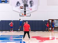 Player development coach Nemanja Jovanovic looks on at practice. He was the only coach allowed in the gym for eight days due to COVID-19 contact tracing.