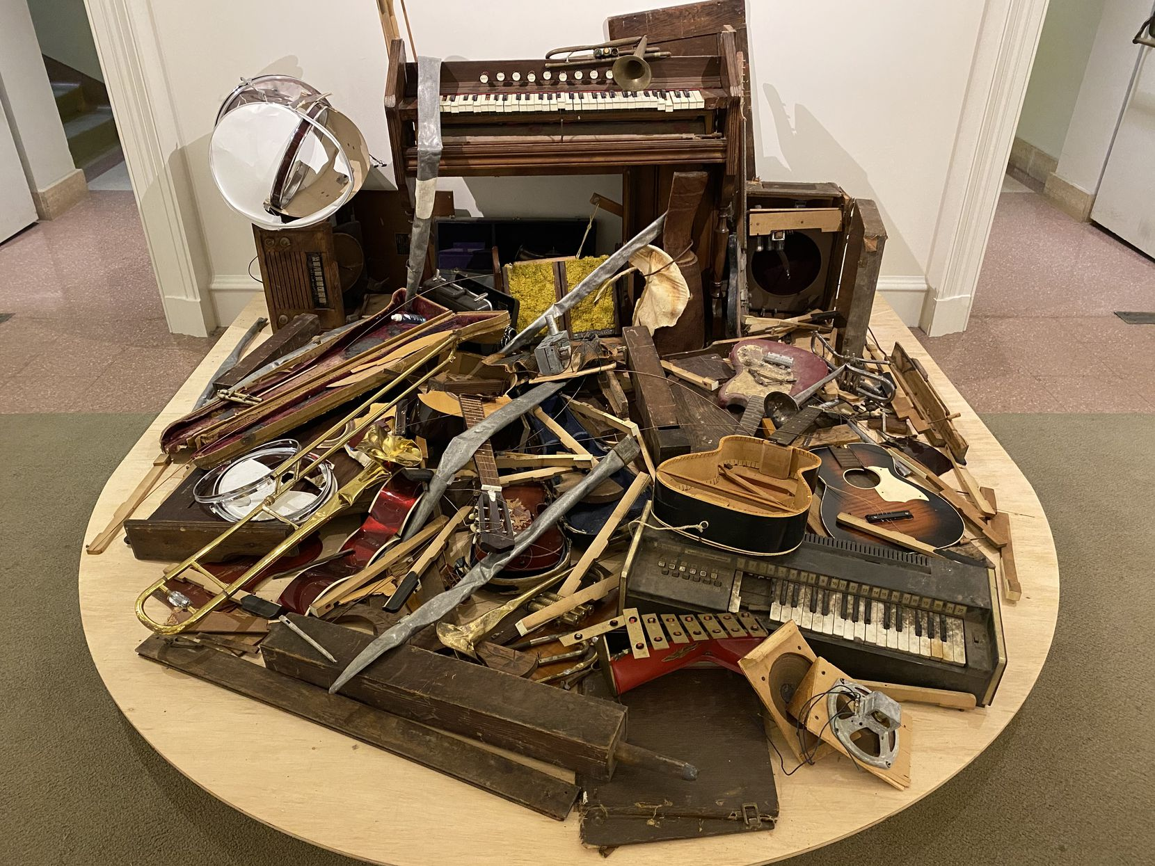 """This mixed media work by Lonnie Holley, """"After the Revival (Vox Humana III: The Strength of Music Lives After the Instruments Are Destroyed)"""" from 2021 is part of the """"From the Limitations of Now"""" exhibition at the Philbrook Museum of Art in Tulsa. (Photo: Philbrook Museum of Art)"""