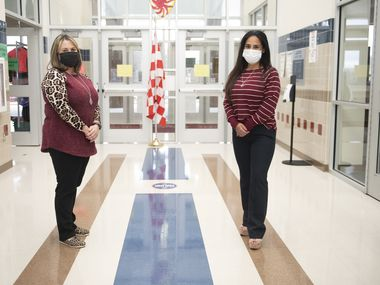 Erica Ramos and Stephanie Smith, second-grade teachers at Mesquite's Henrie Elementary School, drive to students  homes to say hello, chat about school, drop off birthday presents or give them trinkets on holidays during the COVID-19 pandemic.