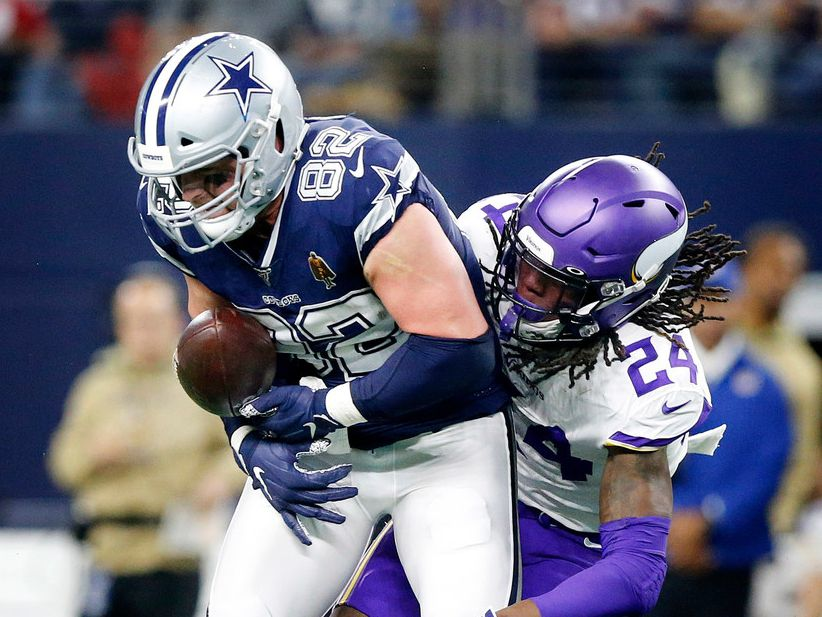 Dallas Cowboys tight end Jason Witten (82) has his pass knocked away by Minnesota Vikings defensive back Holton Hill (24) in the first quarter at AT&T Stadium in Arlington, Texas, Sunday, November 10, 2019.