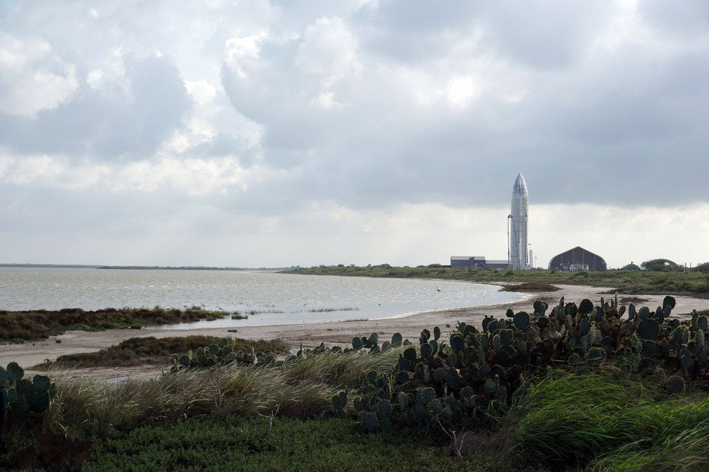 On Sept. 28, 2019 the SpaceX Starship Mk1 is  visible in the distance, surrounded by the natural topography at the company's Boca Chica Launch Complex in Brownsville.