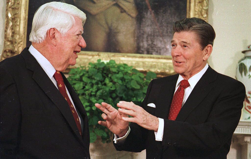 As president, Ronald Reagan worked with Democratic House Speaker Tip O'Neill to forge a new plan for securing Social Security. (1983 File Photo/The Associated Press)