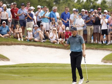 Jordan Spieth acknowledges the crowd after getting a birdie on the 12th hole during round 3 of the AT&T Byron Nelson  at TPC Craig Ranch on Saturday, May 15, 2021 in McKinney, Texas. (Vernon Bryant/The Dallas Morning News)