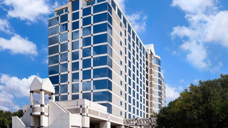 The Omni Dallas Hotel at Park West is on LBJ Freeway at Luna Road.