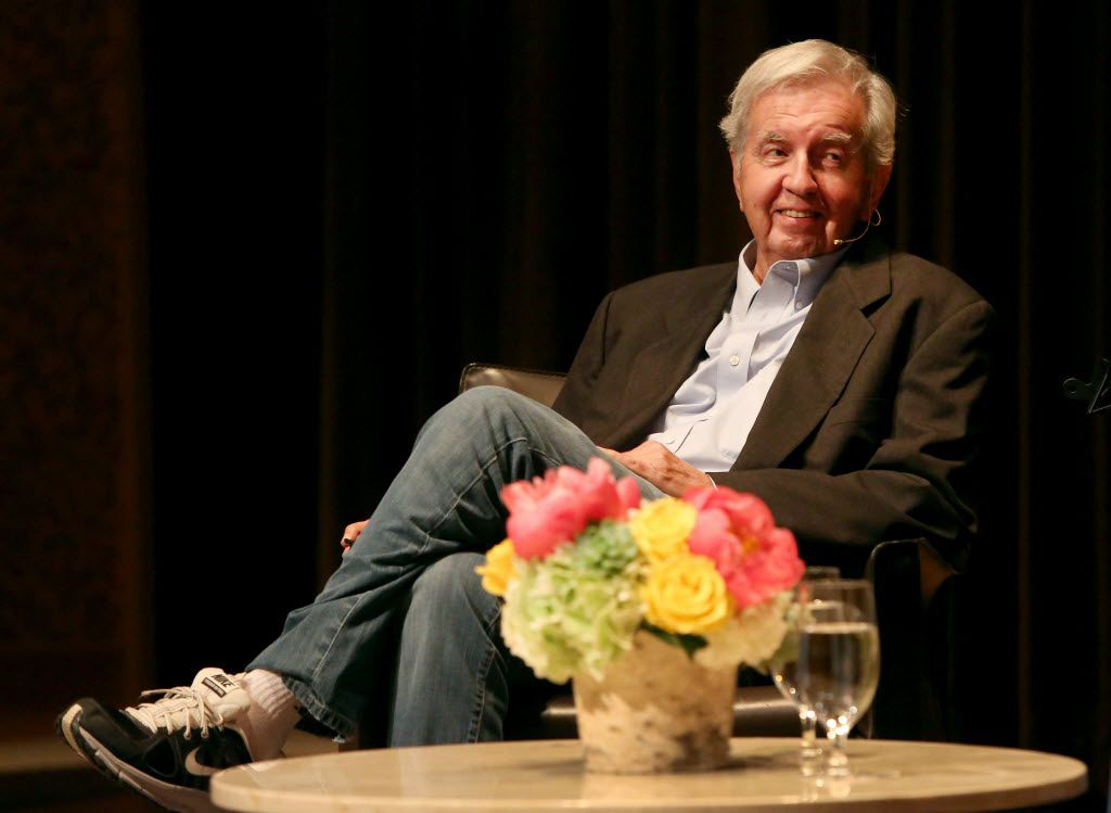 "Author Larry McMurtry answers questions from moderator Skip Hollandsworth during the Dallas Museum of Art's ""Arts and Letters Live"" presentation in 2014."