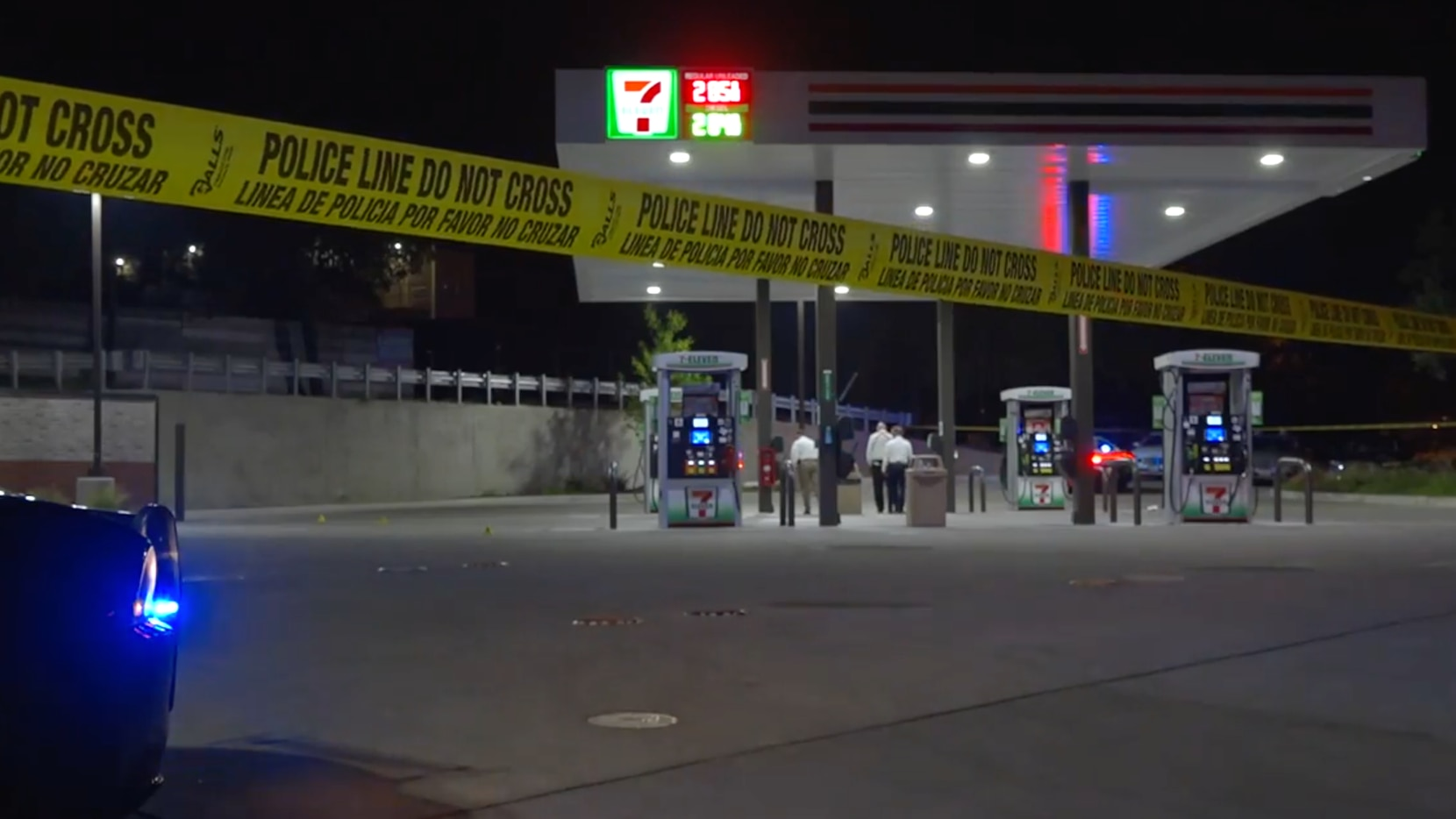 Dallas police were called to the 7-Eleven in the 400 block of North Zang Boulevard just before 11 p.m. Wednesday.
