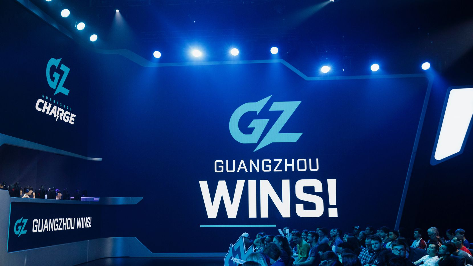 Guangzhou Charge wins a match in the first half during the Overwatch League match between the Dallas Fuel and Guangzhou Charge on Sunday, August 18, 2019 at Blizzard Arena in Burbank, CA. (Photo by Patrick T. Fallon/Special Contributor to The Dallas Morning News)