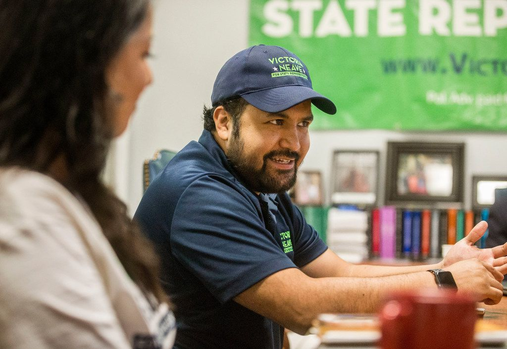 Ramiro Juna, campaign manager for Victoria Neave, talks during an interview at Neave's headquarters in Dallas on Sept. 2, 2018.