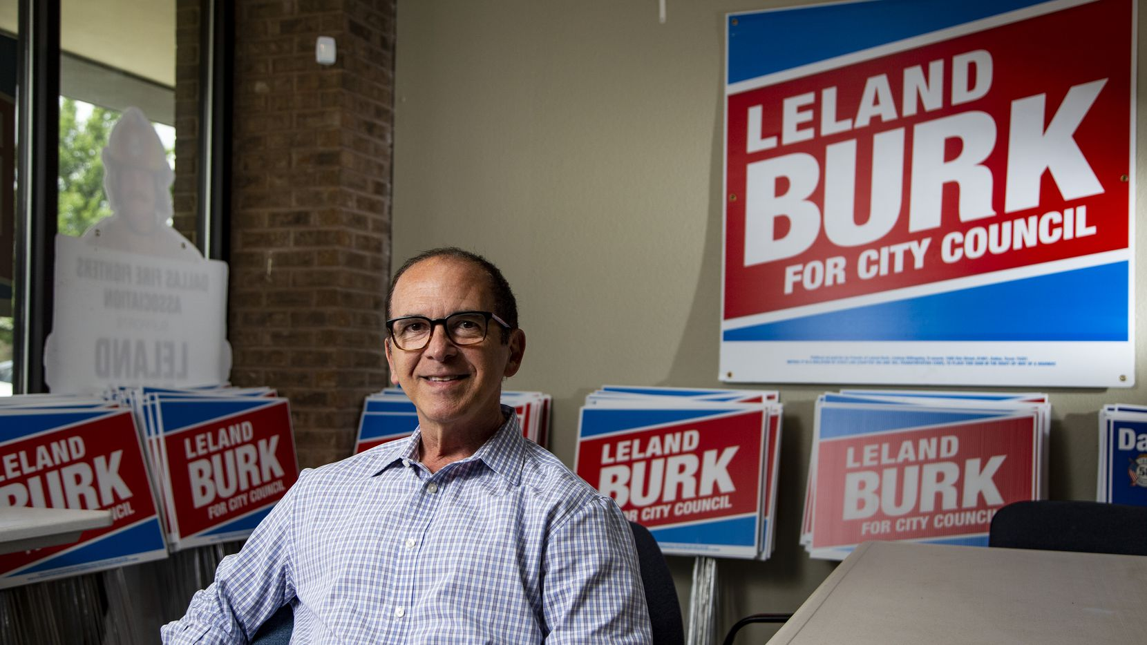 Leland Burk, a Dallas City Council candidate running  to represent District 13, poses for a photo at his campaign office in North Dallas, Friday, May 21, 2021. (Brandon Wade/Special Contributor)